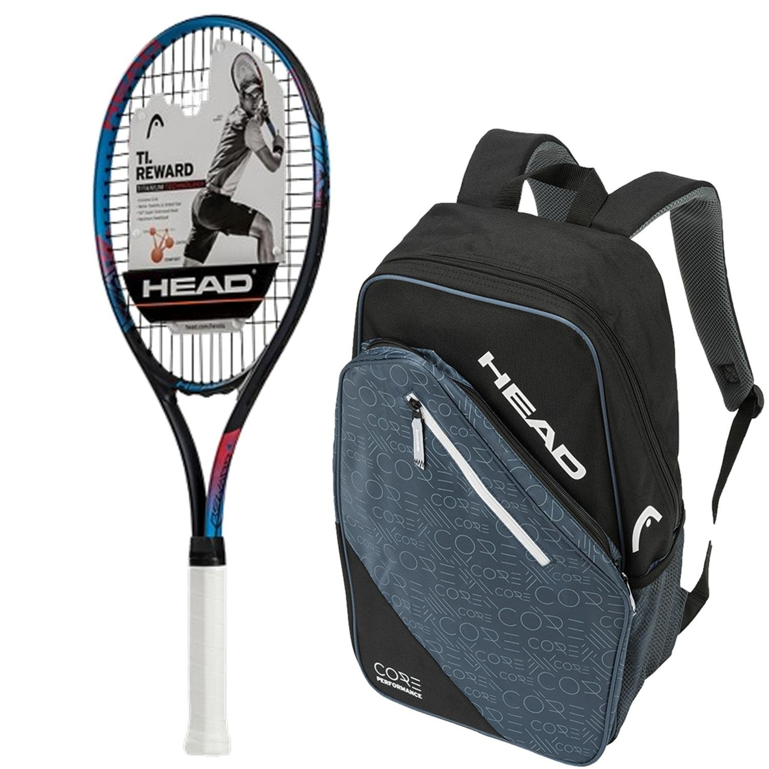 Amazon.com : Head Ti.Reward Pre-Strung Tennis Racquet bundled with a Core Tennis Bag or Backpack : Sports & Outdoors
