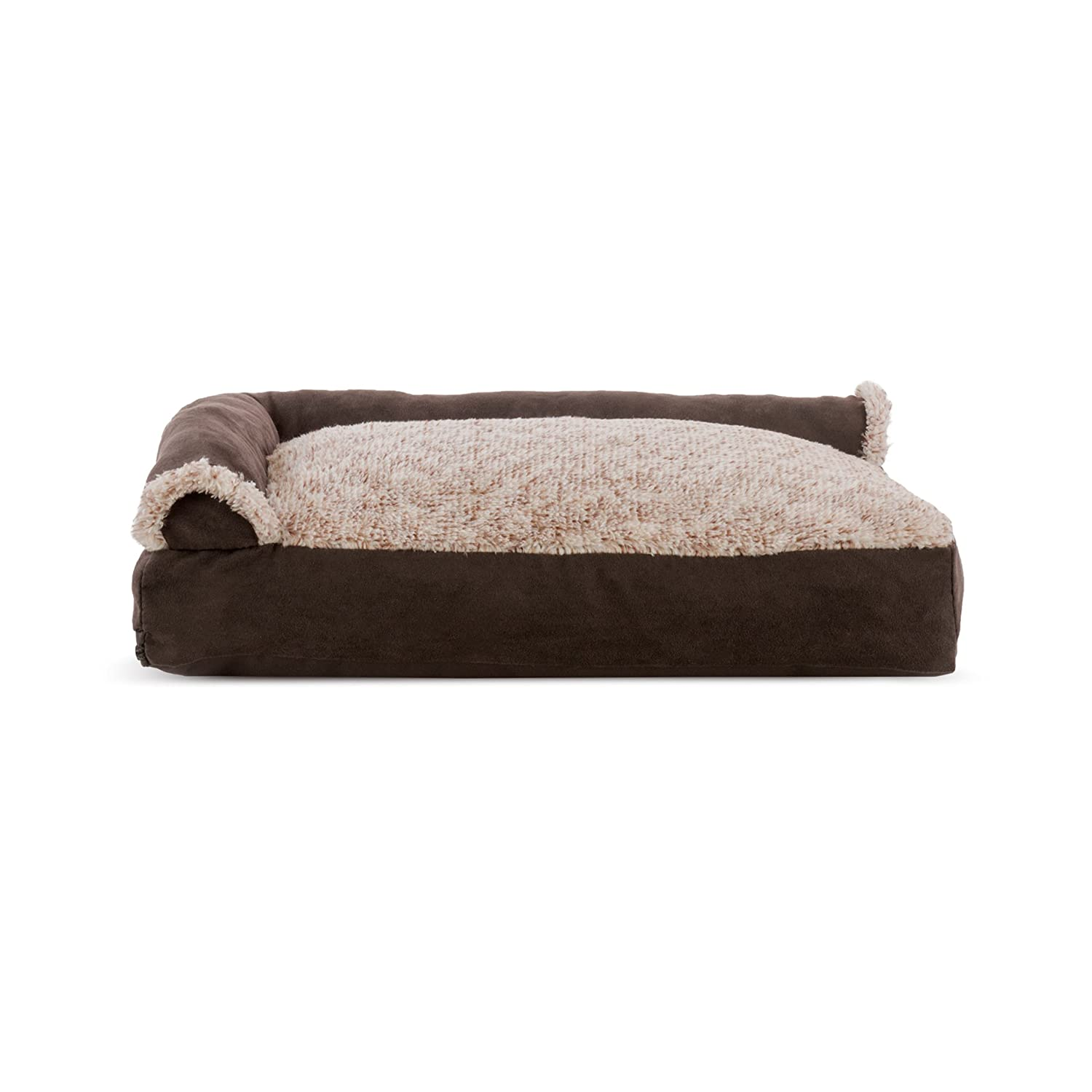 Two-Tone Espresso Small Two-Tone Espresso Small FurHaven Pet Dog Bed   Faux Fur & Suede Chaise Lounge Pillow Sofa-Style Pet Bed for Dogs & Cats, Espresso, Small