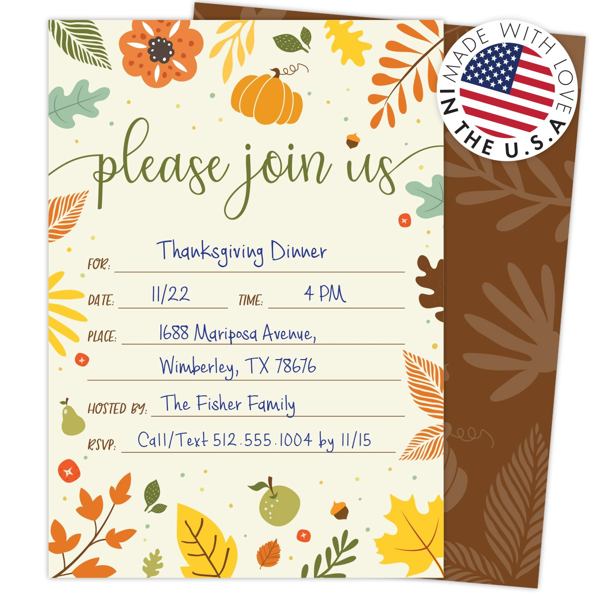 Koko Paper Co Fall Invitations in Autumn Colors with Pumpkin, Fruits and Florals. 25 Fill In Style Cards and Envelopes for Thanksgiving, Harvest Party, Birthday, Engagement, Bridal and Baby Shower, or by Koko Paper Co (Image #3)