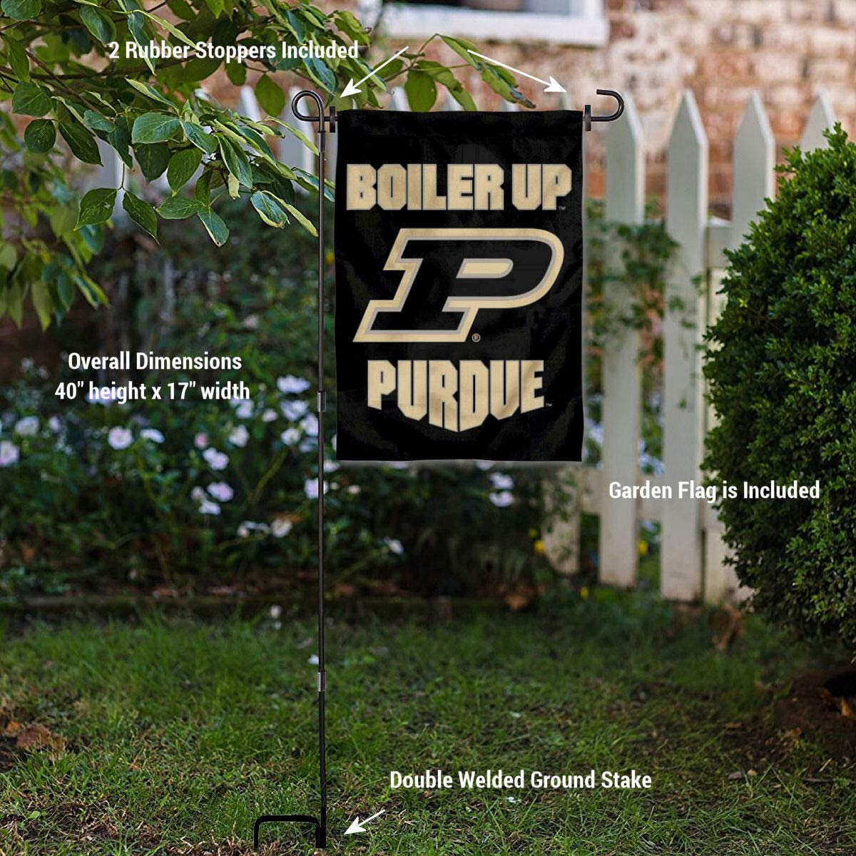 Purdue Boilermakers Boiler Up Garden Flag with Pole Stand Holder College Flags and Banners Co