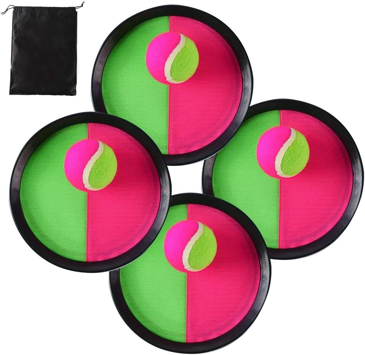 Locisne Toss y Catch Paddle Game Set,Disco de paletas y Juego de Lanzamiento de Pelota Juego Atrapa Pelotas con Bolsa de Almacenamiento, 4 paletas y 4 Bolas