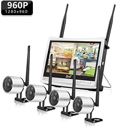 569f80ee845 Wireless Security Camera System BNT 4Channel WiFi NVR with HD LCD Monitor    4 HD 960P