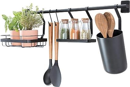 Idesign Kitchen Wall Organiser Metal Hanging Storage With 2 Hooks Small Shelf Kitchen Utensil Holder And Spice Rack Matte Black 63 8 X 14 5 X 23 8 Cm Amazon Co Uk Kitchen Home