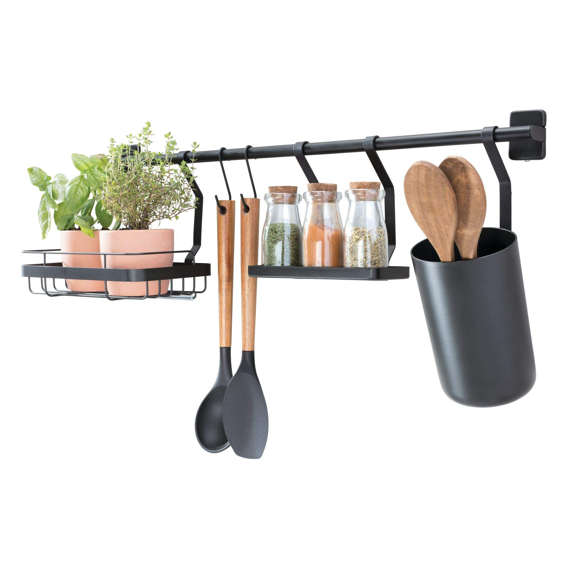 iDesign Austin Kitchen Wall Organizer, Holds Spices, Utensils, and More - Matte Black by iDesign