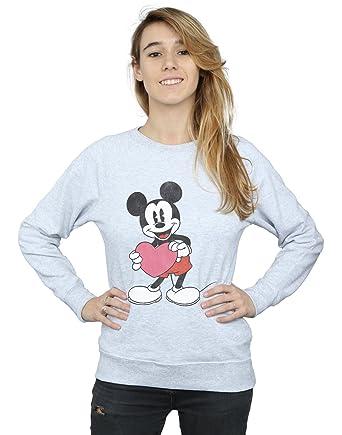 Disney mujer Mickey Mouse Valentine Heart Camisa De Entrenamiento: Amazon.es: Ropa y accesorios