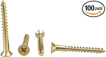 #6 Threads 7//8 Length Slotted Drive Brass Wood Screw Plain Finish 7//8 Length Small Parts Flat Head Pack of 100