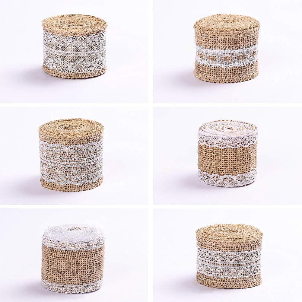 ETbotu Nastri Adesivi per Hobby creativi Rotolo di 6 Rotoli di Juta con Decorazioni in Pizzo Bianco per imballaggi Decorativi per la casa