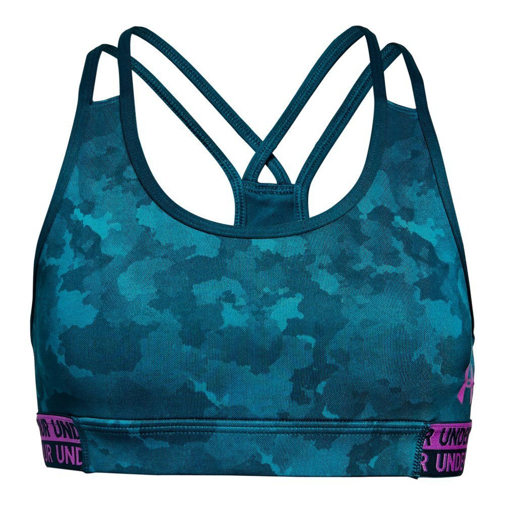 Under Armour Girls' HeatGear Armour Printed Sports Bra, Techno Teal (489)/Fluo Fuchsia, Youth X-Small