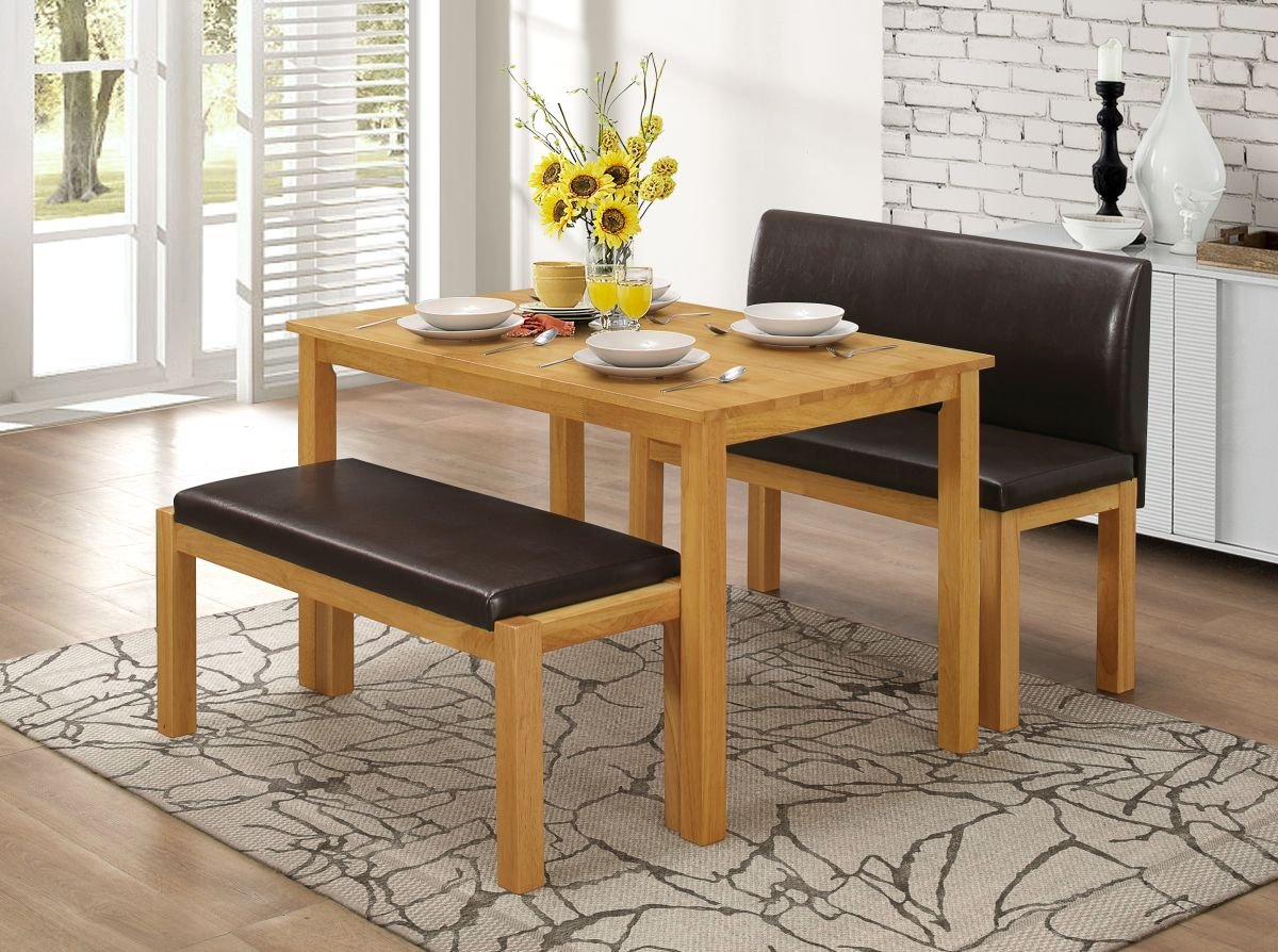 Greenheart Furniture UK Ireland Dining Table 2 Bench Set Amazoncouk Kitchen Home