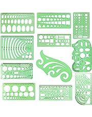 Plantillas para dibujar círculos con regla de plástico, kit de herramientas para dibujar, formas