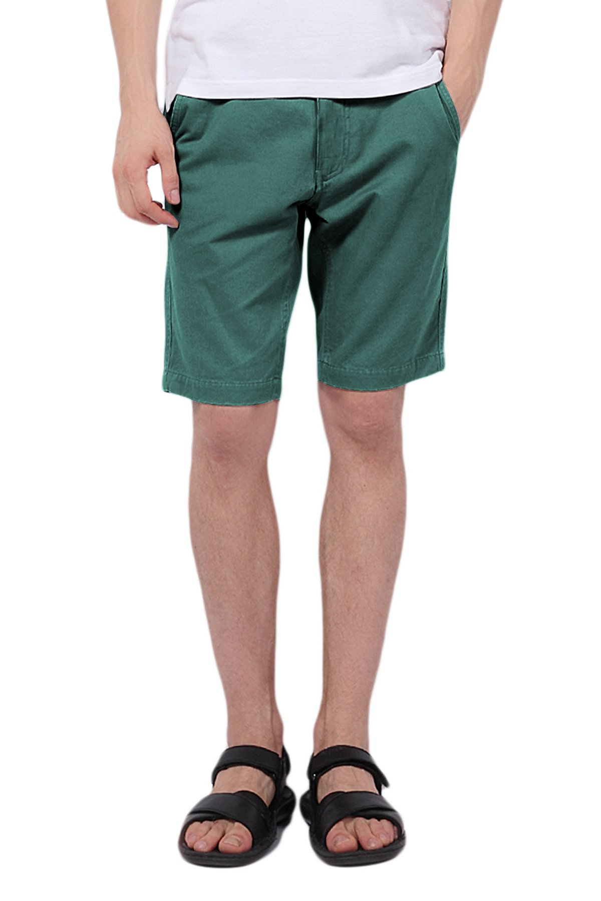 Pau1Hami1ton PH-01 Men's Chino Casual Shorts Slim Fit(34 Green Blue)