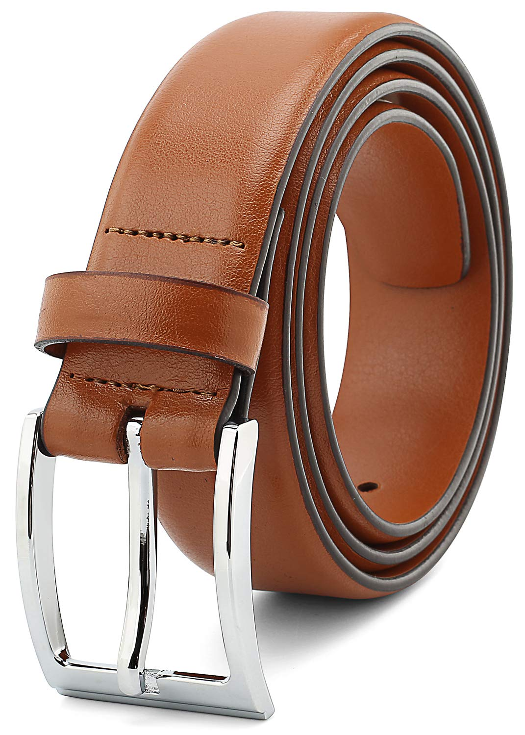 Savile Row Mens Dress Belt Leather 35mm 1.35'' wide Tan Size 38
