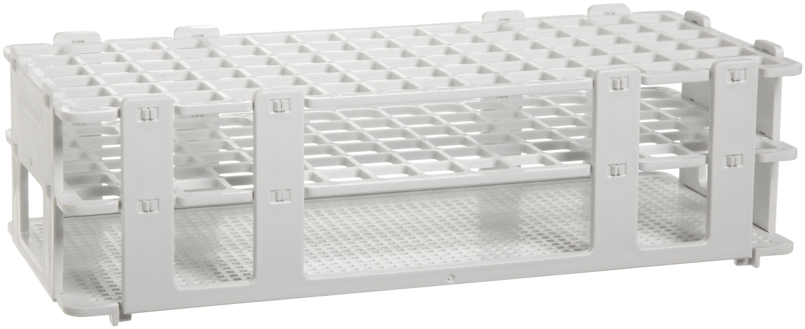 Bel-Art F18745-0000 No-Wire Test Tube Rack; 10-13mm, 90 Places, 9.7 x 4.1 x 2.5 in., Polypropylene, White