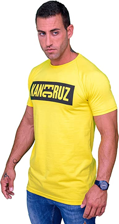Kane Cruz - Brave Dobel Square Yellow Black - Camiseta Manga Corta Hombre - Fabricada en España - Moda Urbana: Amazon.es: Ropa y accesorios