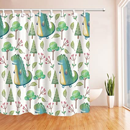 HiSoho Dinosaur Shower Curtains For Bathroom Walking In Tropical Rainforest Polyester Fabric Waterproof