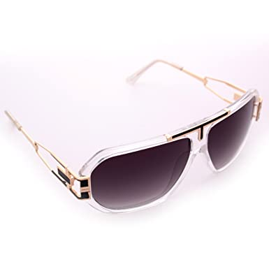 9a07d72dbf6 Amazon.com  Clear   Gold Gazelle Sunglasses Black Smoke Lenses  Clothing