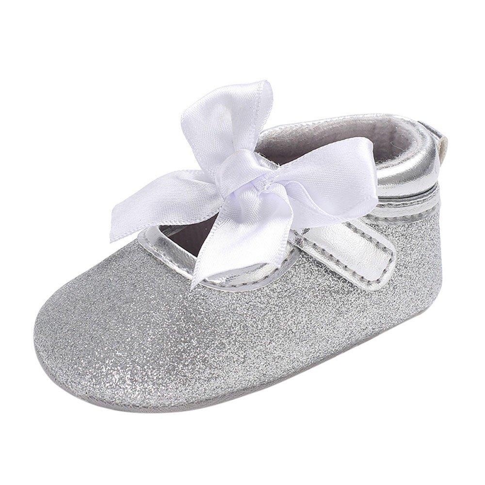 Kiminana Baby Infant Kids Girl Soft Sole Crib Toddler Newborn Shoes Silver