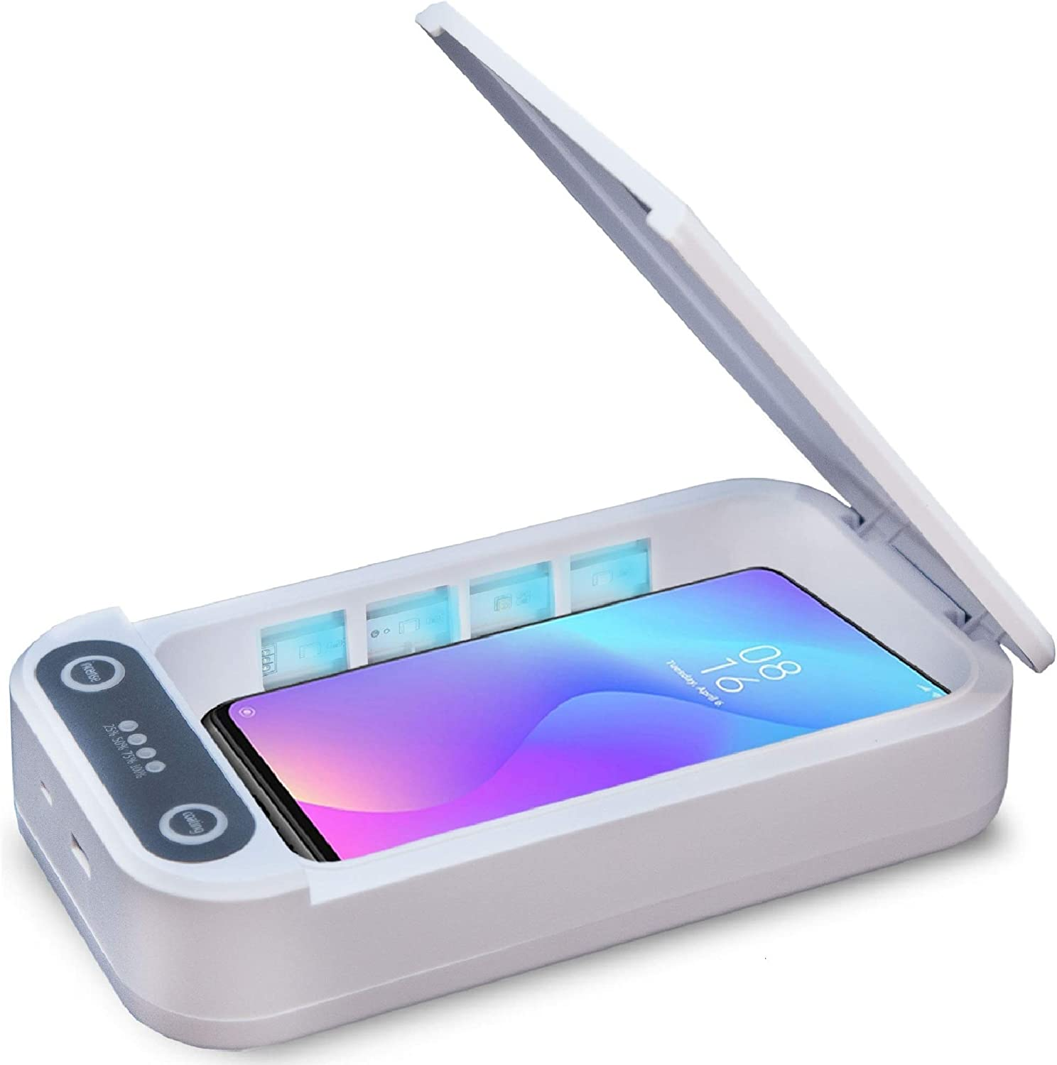 Phone Sterilizer with Wireless Charging Samrtphone Sterilizer Cleaner with Aromatherapy Function