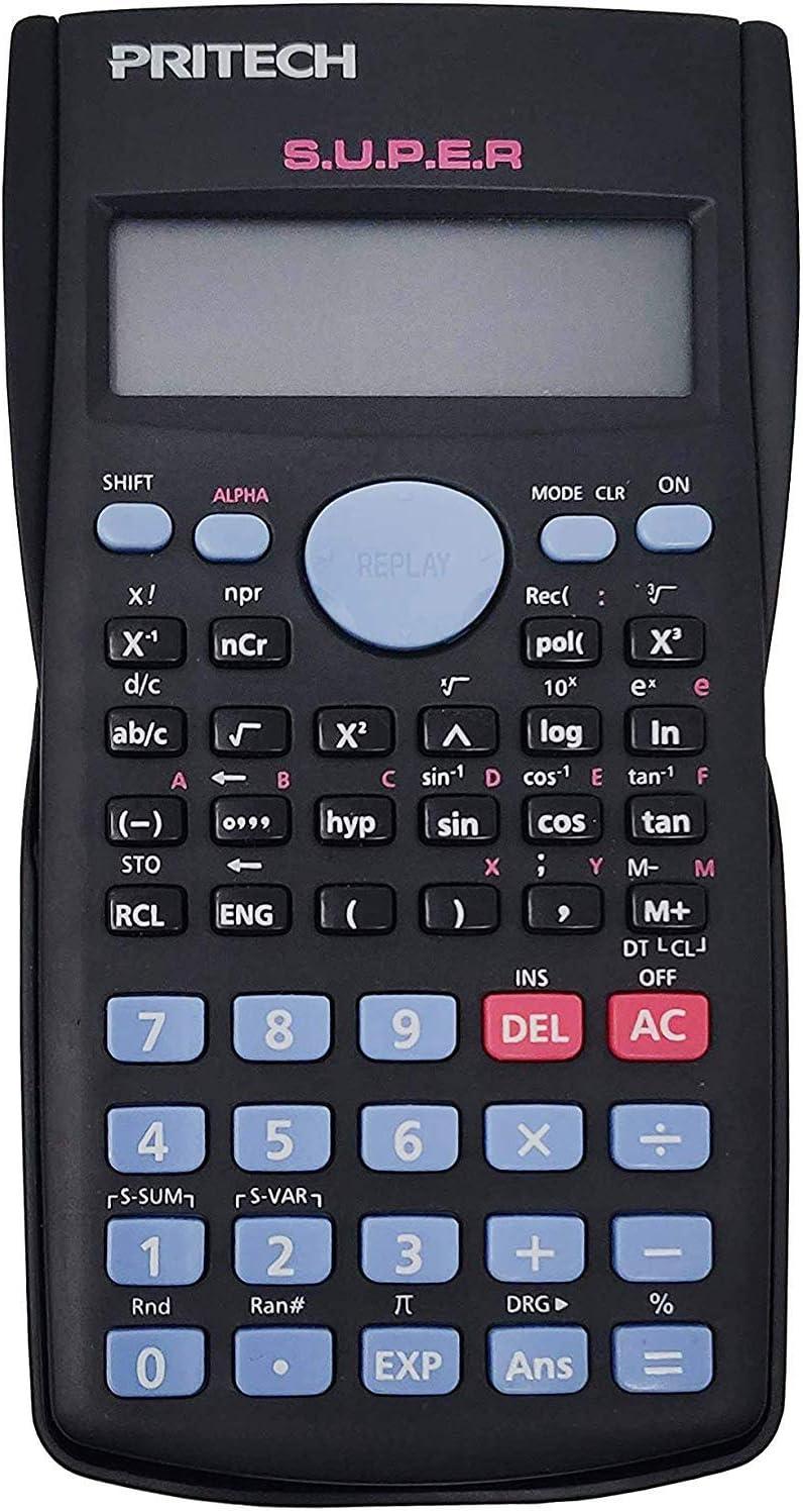 Pritech - Calculadora científica (240 funciones, 24 niveles de paréntesis), color gris oscuro, estilo FX-82MS CC-0109