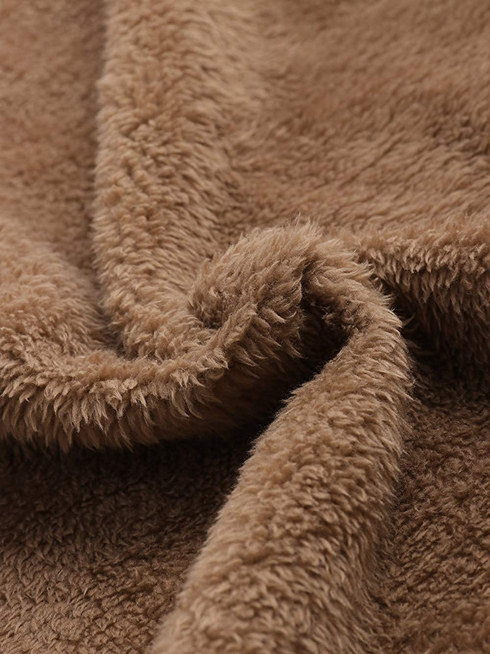 Plus Size Women Hooded Long Sleeve Cotton Linen Fluffy Fur Zipper Coat Outwear