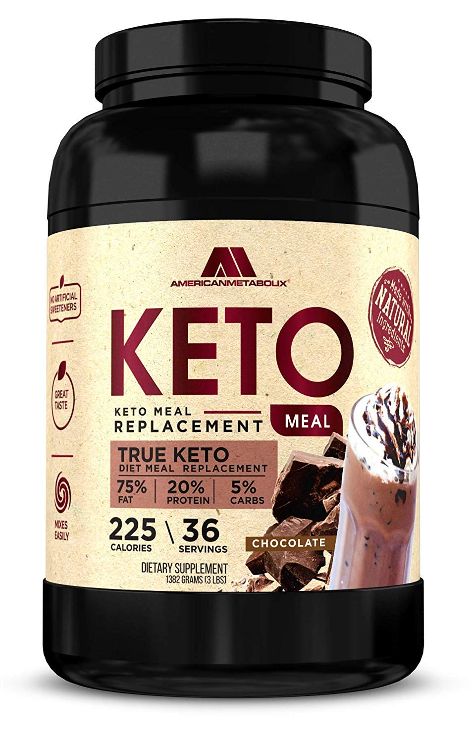 Keto Meal Replacement with BHB, 210 Calories, (Chocolate Malt, 36 Servings)