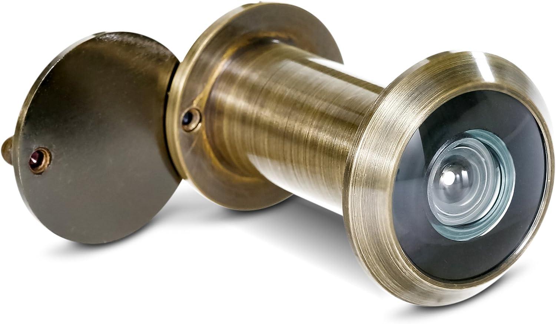 Stoppwerk Mirilla para puerta en estilo antiguo de 14 mm para hojas de puerta de 35-55 mm con angular de 200 ° y tapa
