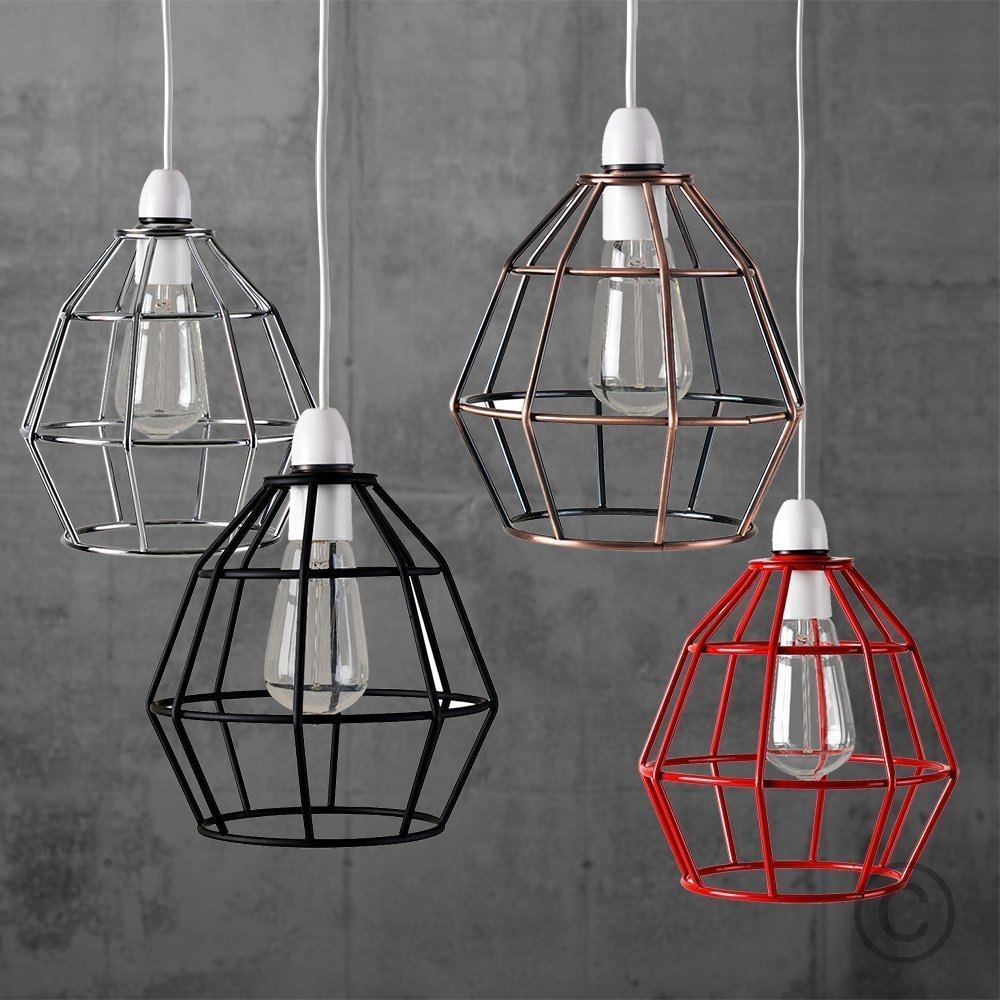 Contemporary polished chrome metal basket cage designer style contemporary polished chrome metal basket cage designer style pendant ceiling light shade amazon lighting keyboard keysfo Images