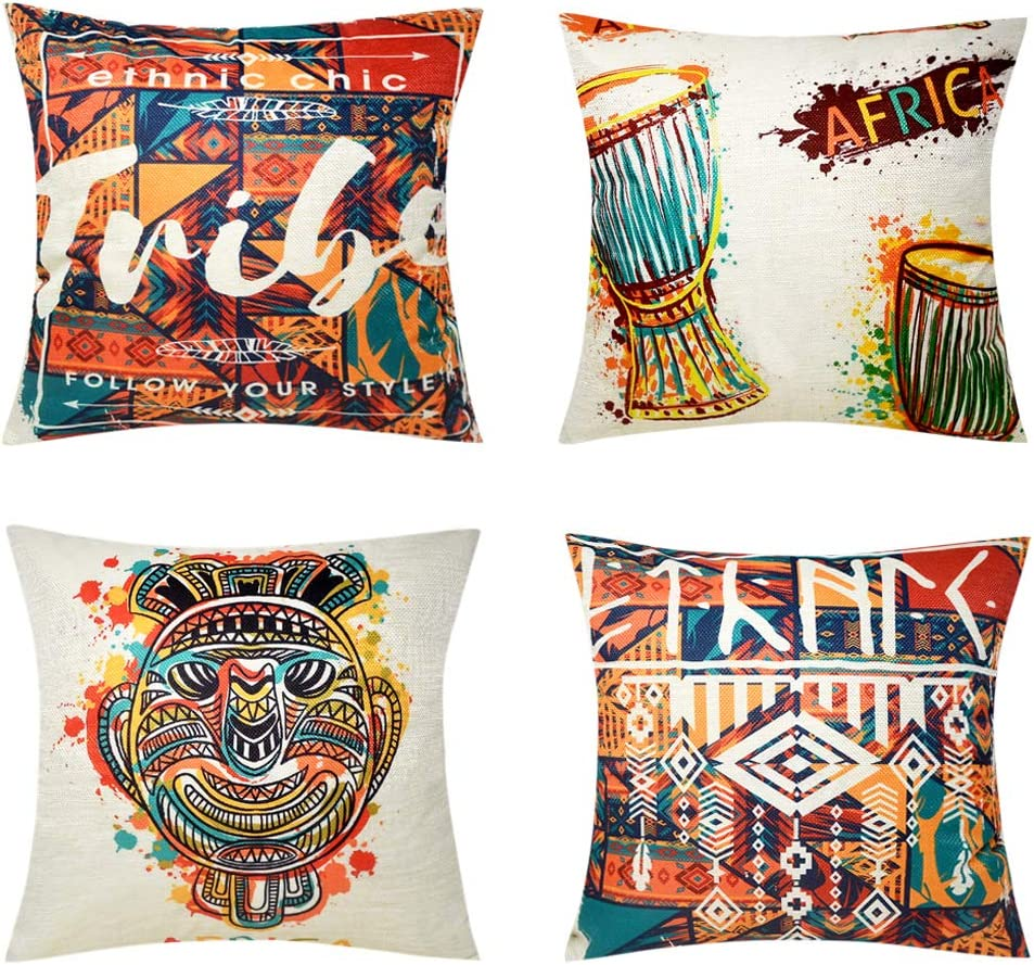 Bublanwo African Art Decor Throw Pillow Covers Decorative Tribal Pillows Indian Multicolor Drum Totem Mask Cushion Covers Decoration for Home Couch Bedroom Set of 4,18x18