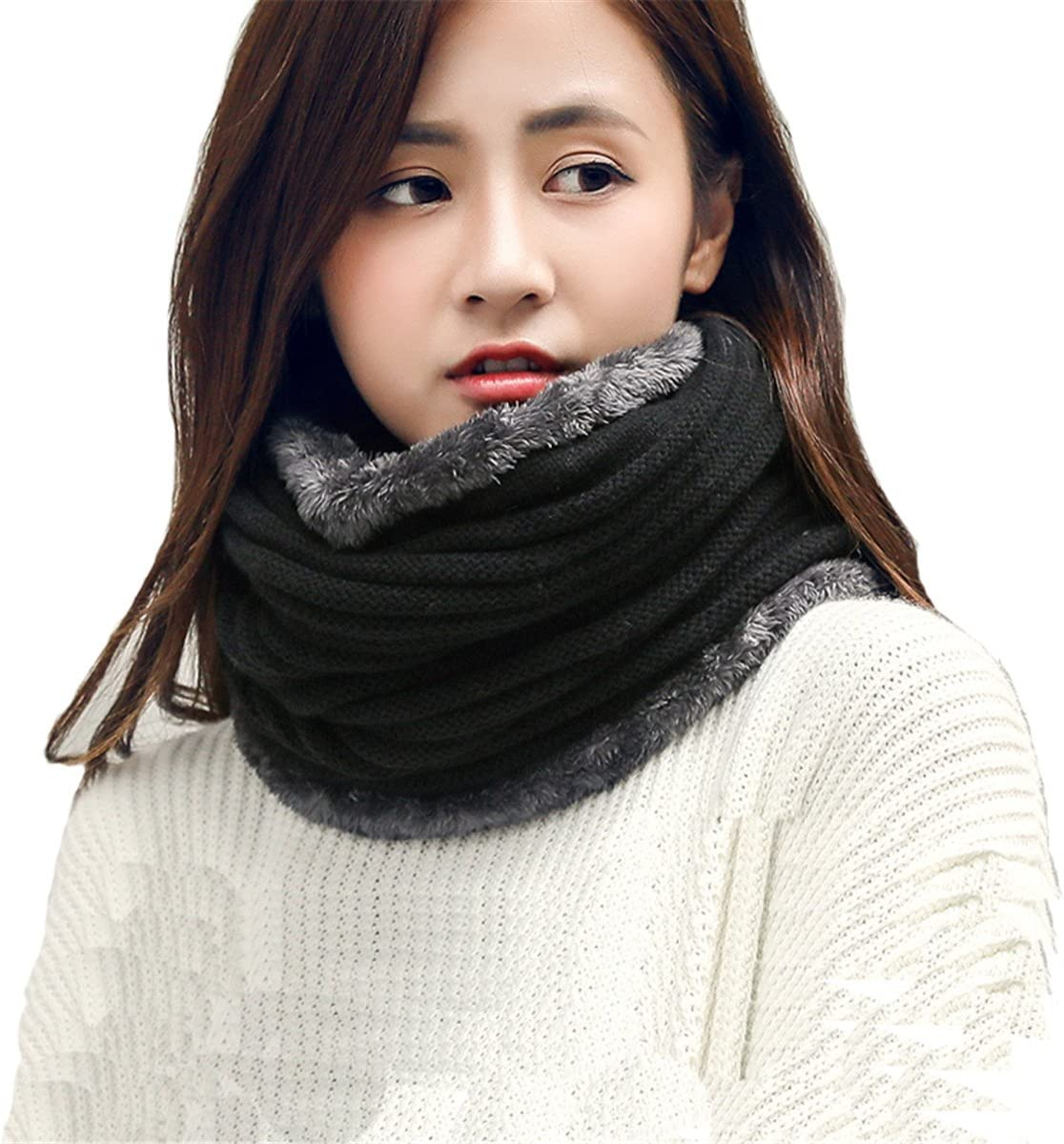 Leories Winter Neck Warmer Fleece Lined Infinity Scarf Soft Thick Circle Loop Scarves