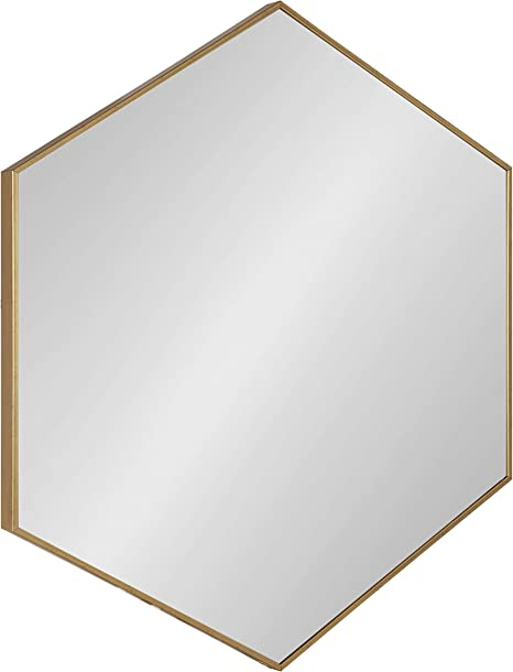 Amazon Com Kate And Laurel Rhodes 6 Sided Hexagon Wall Mirror 30 75x34 75 Gold Home Kitchen