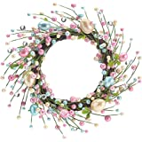 """Spring 15"""" Pearlized Easter Egg Decorative Easter Wreath"""