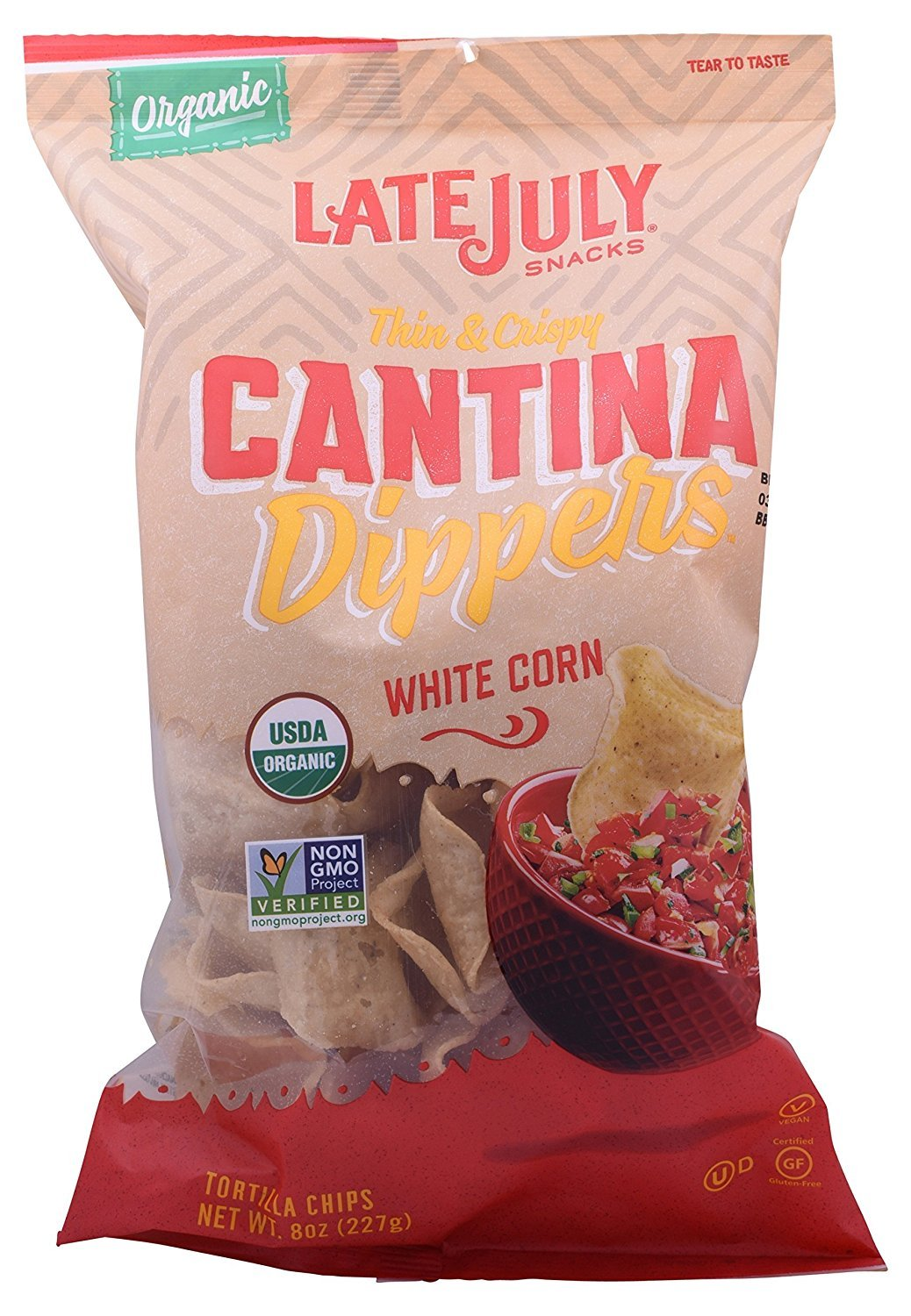 Late July Organic Cantina Dipper White Corn Tortilla Chips 8 oz Pack of 9 by Late July