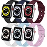 6 Pack Sport Band Compatible with Apple Watch Band 40mm 44mm 38mm 42mm iwatch Bands Series 6 5 4 3 2 1 SE Bracelet Soft…