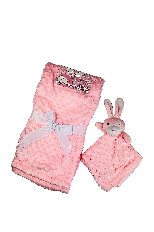 asiento de coche cuna manta de forro polar y cobertor de juguete para uso en cochecito cuna y mois/és Rosa y azul 76 cm x 102 cm rosa rosa Juego de ropa de cama reversible para beb/é supersuave