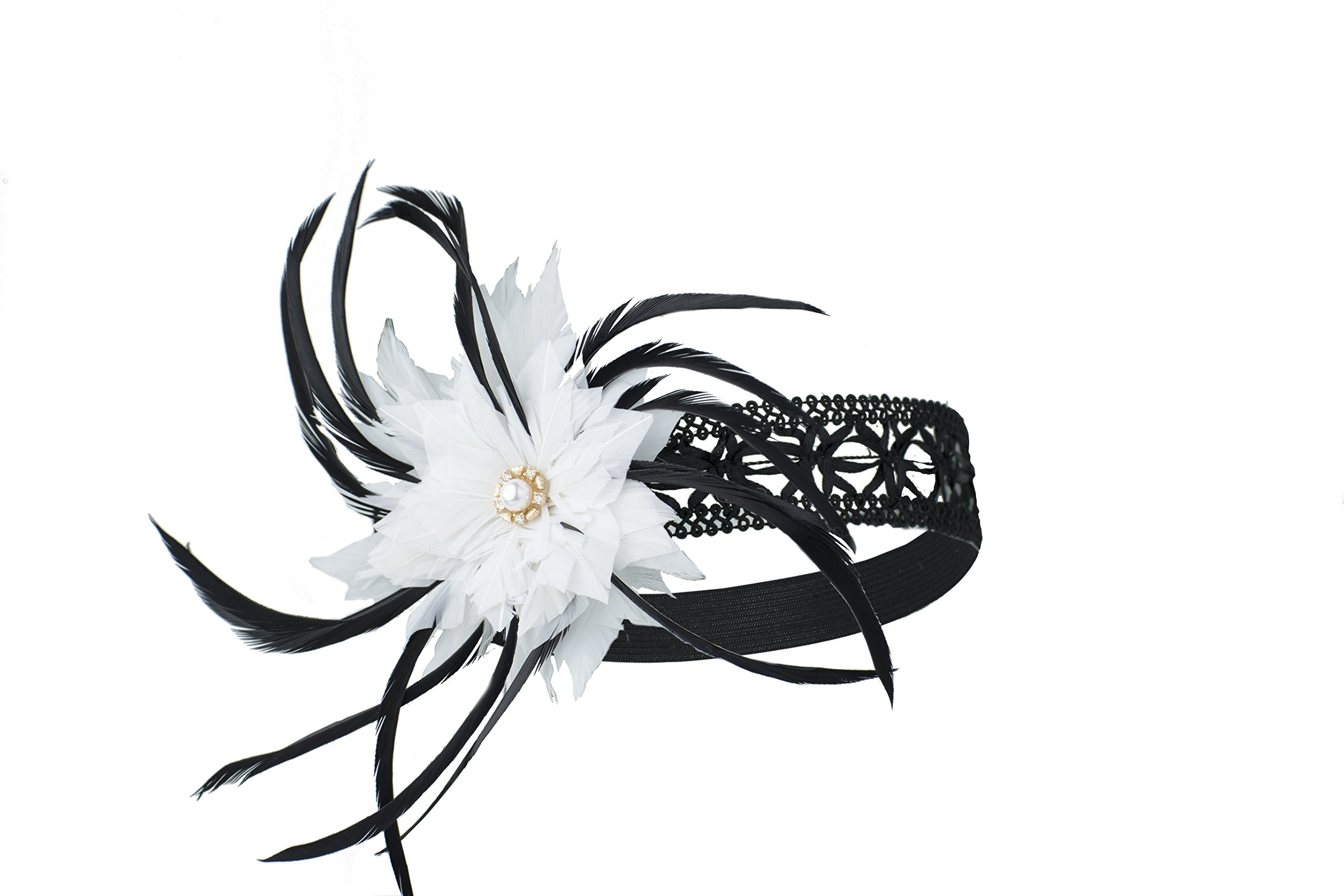 CONIFERA Headband Elastic 1920s Hollow White Black Feather Flower with Crystal Glass Stone for Women