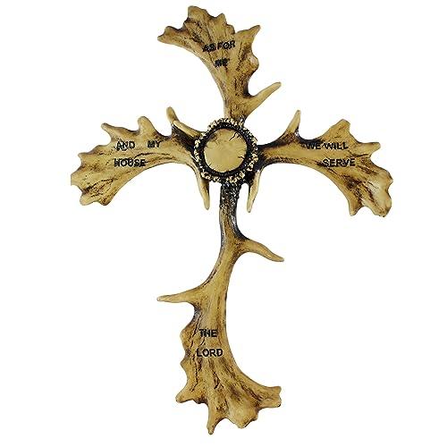Pine Ridge Faux Elk Antler Joshua Religious Christian Cross with Bible Inscription Joshua 24 15 – Decorative Faith Cross – Home Decor Colorful Catholic Confirmation Favors