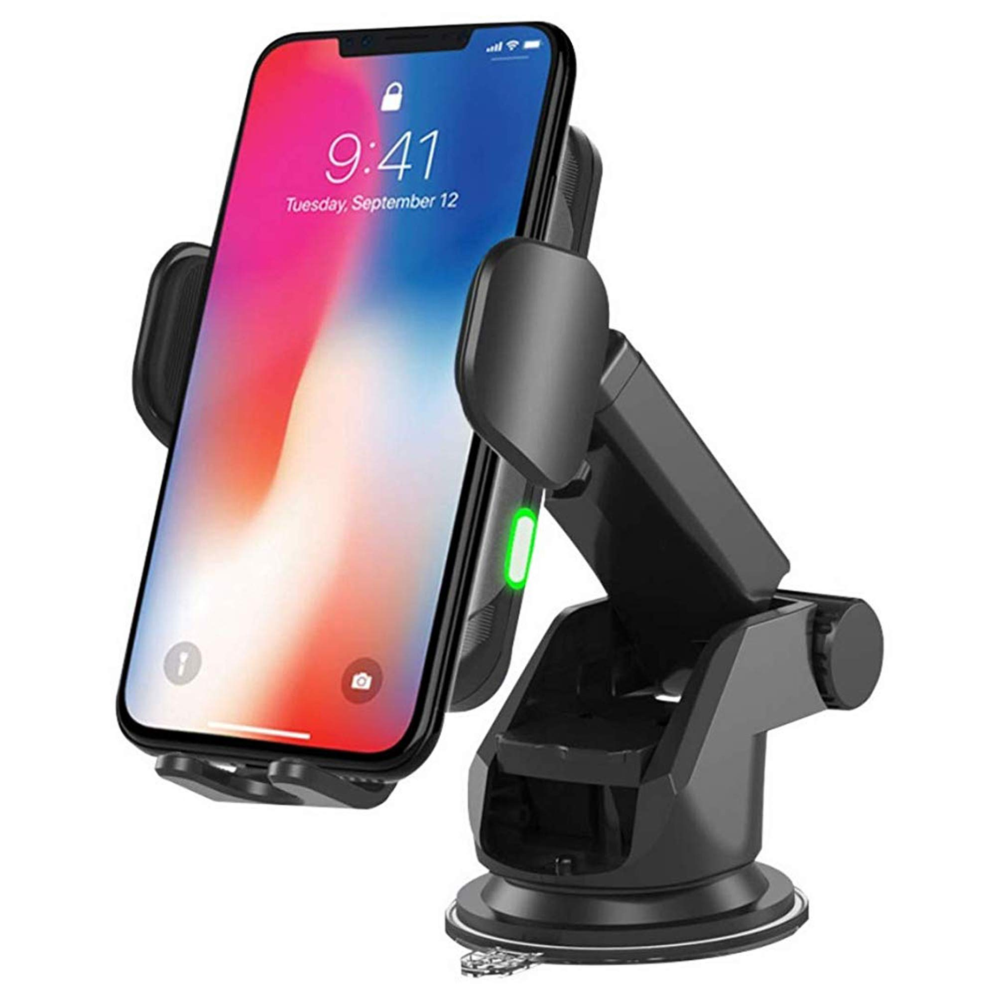 Wegacell Wireless Phone Charger Mount, Qi Fast Charging, Windshield-Dash-Vent Phone Holder, Auto Clamping Arms Compatible with iPhone 8 or Newer, SAMSUNG S8 or Newer, and Other Smartphones