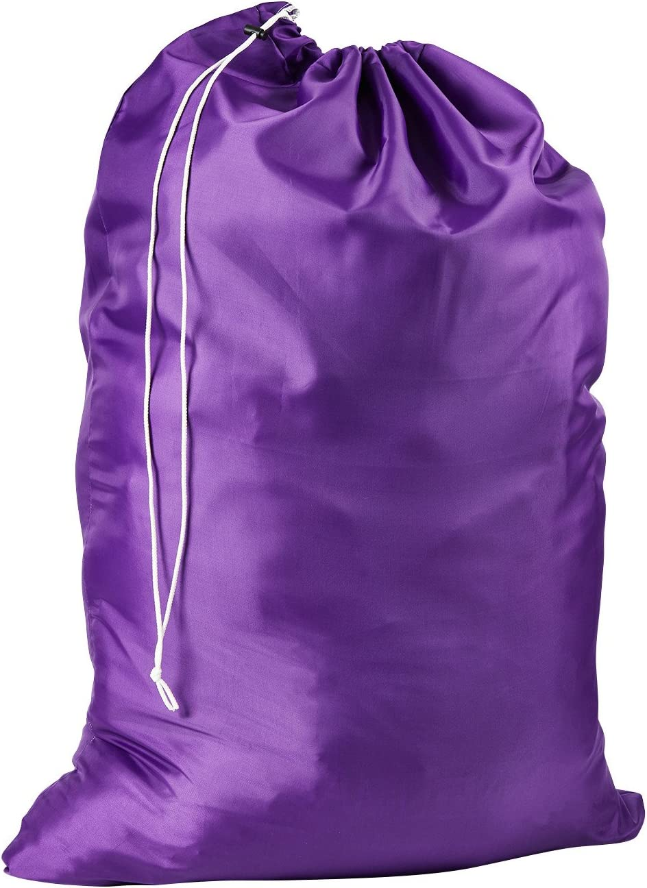 Nylon Laundry Bag - Locking Drawstring Closure and Machine Washable. These Large Bags Will Fit a Laundry Basket or Hamper and Strong Enough to Carry up to Three Loads of Clothes. (Purple)