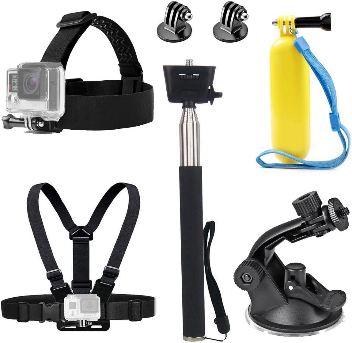 TEKCAM - Correa para la cabeza de la cámara de acción, arnés para el pecho, montaje de la correa para selfie, mango flotante, agarre con ventosa compatible con cámara subacuática Gopro Hero