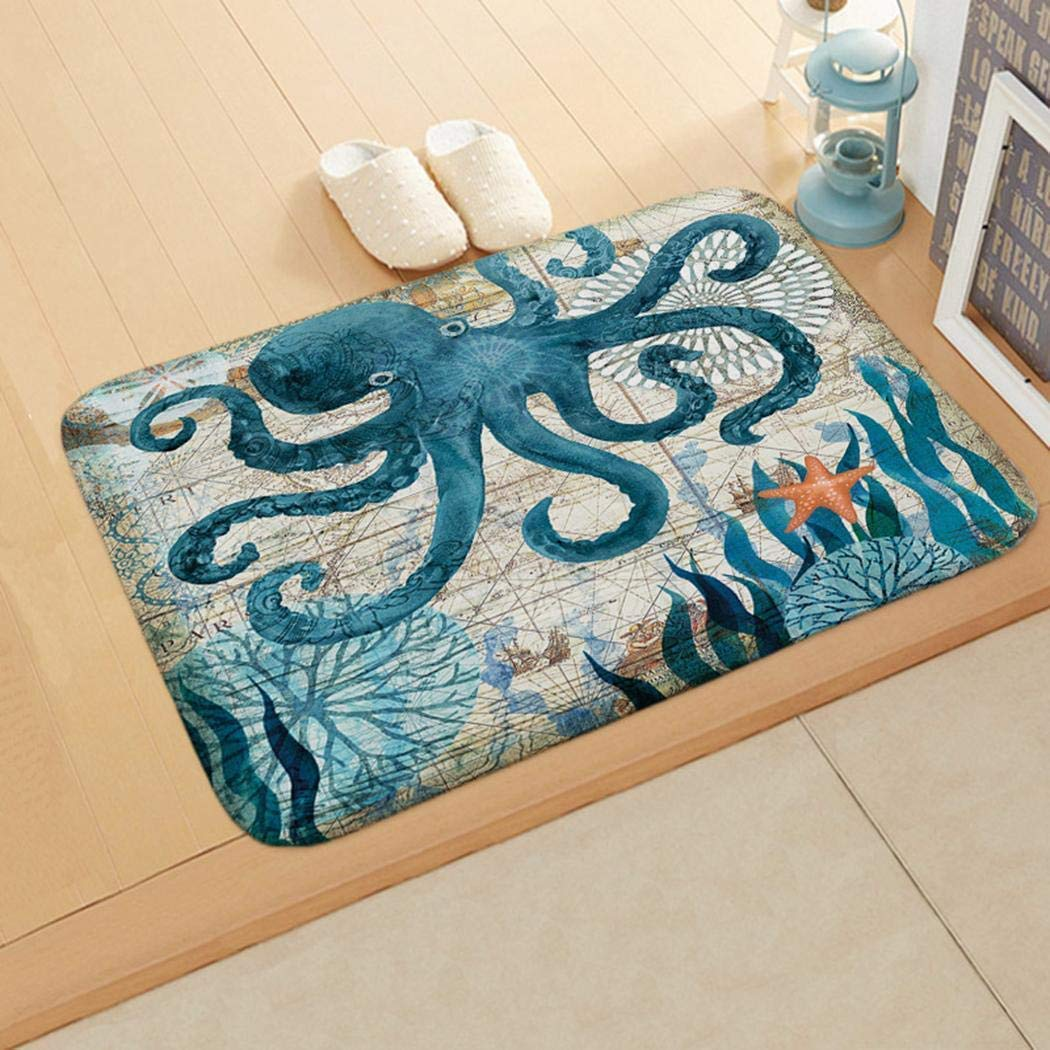 Floor Mat Print Octopus Door Mat with Hippocampus Pattern Bedroom Bathroom Home Sea Turtle Pattern Absorbent Non-Slip Carpet Mat Area Rugs (3)