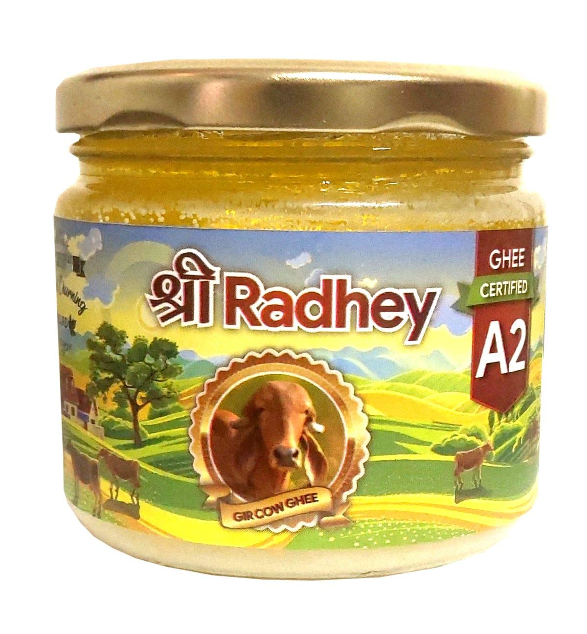Shree Radhey Certified A2 Gir Cow Ghee - Gluten Free - (Traditionaly Hand Churned) (300 ml - 10.15 OZ)