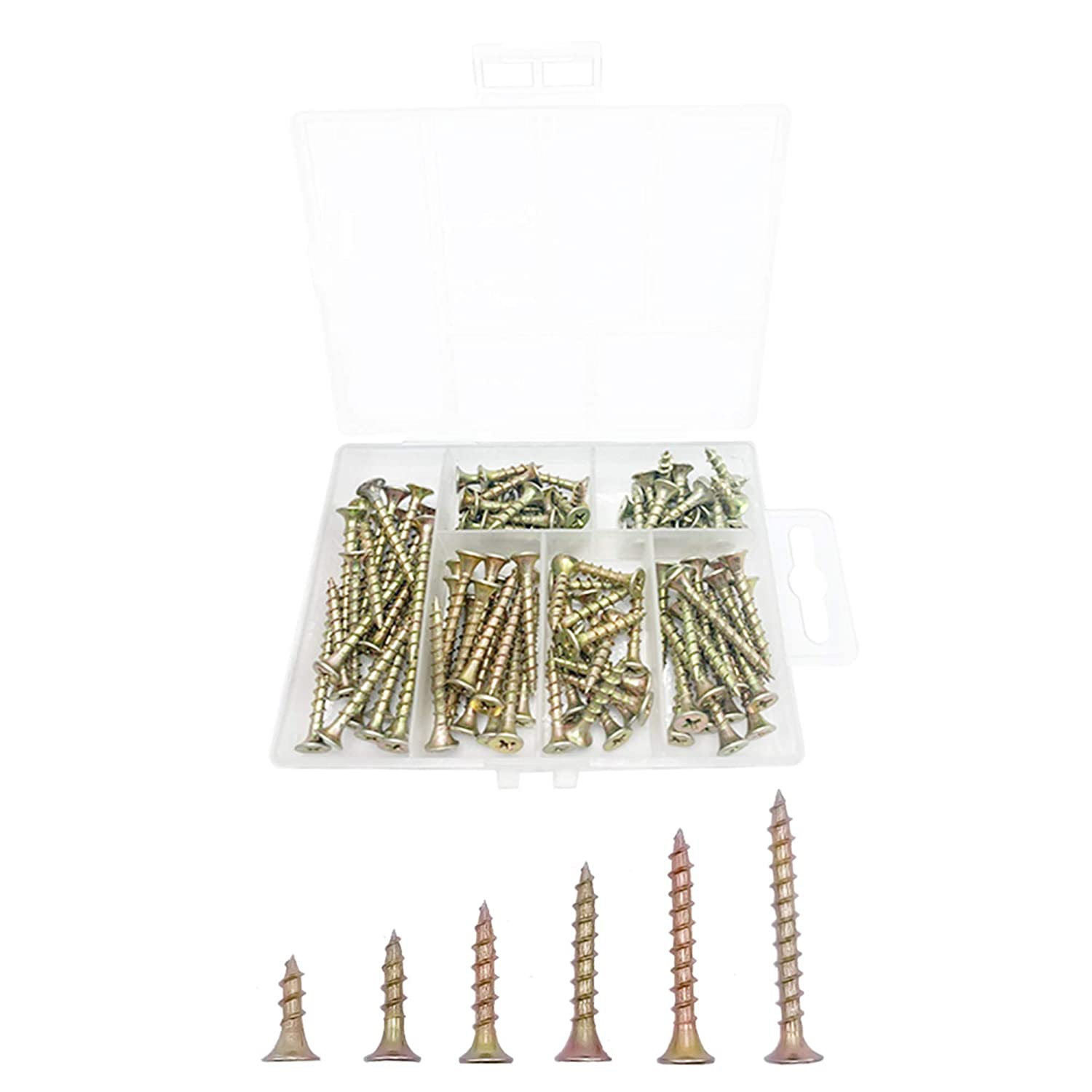 ECKJ Chipboard Drywall Screw Multi-Size Assortment Kit(120 PCS Box Packed, 5/8 to 1-5/8 inch) Coarse Thread Flat Head Phillips Drive Self Tapping Wood Screws Color Zinc Plated for Drywall Sheetrock