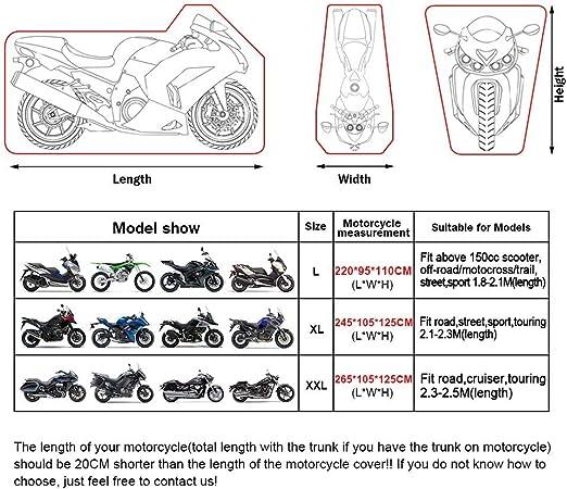 ValueHall Housse Protection pour Moto 210D Tissu Oxford imperm/éables Moto Couverture Scooter Couverture avec 2 Trous de Serrure et Sac de Rangement V9A04 2XL