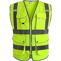 JKSafety Nueve bolsillos Nivel 2 Uniforme trabajo Chaleco con cremallera-Chaleco reflectante fluorescente-Chaleco de…