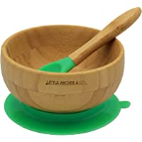 Natural Bamboo Suction Bowl and Spoon – Perfect for Tiny Humans As They Learn to Feed Themselves, Non-Toxic Silicon, Solid Grip On Surfaces