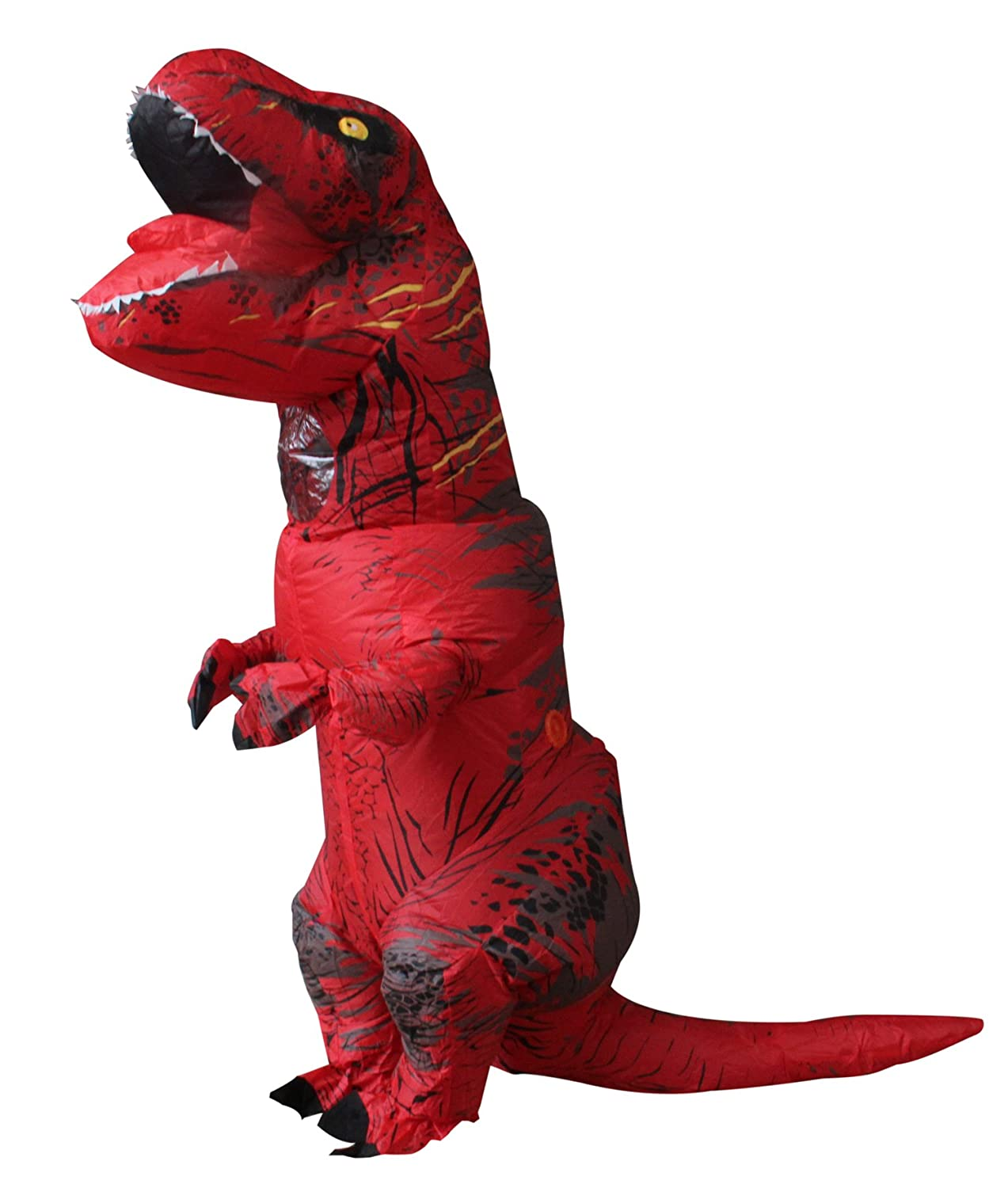 Halloween adulto inflable T Rex Dinosaur Partido traje Funny Dress rojo con mochila y cable USB