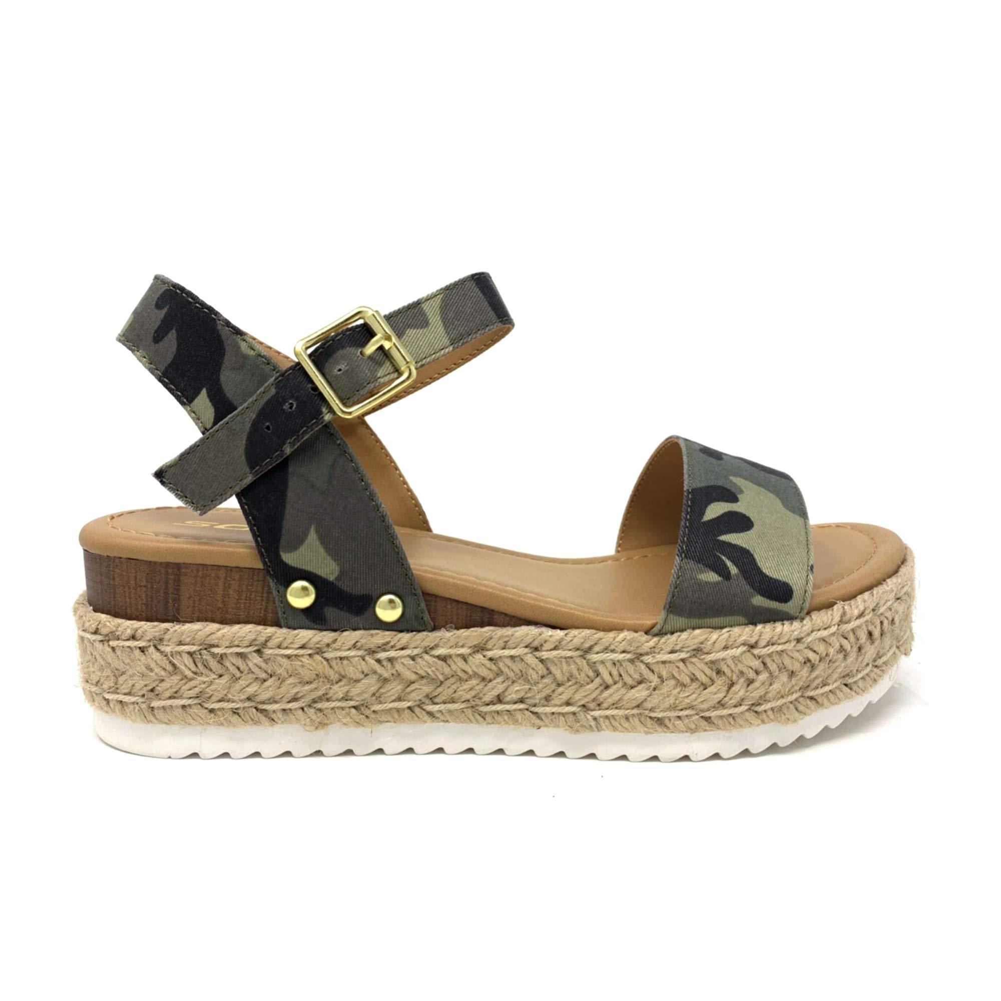 SODA Clip Tan Espadrille Flatform Sandals (5.5 M US, Camo)