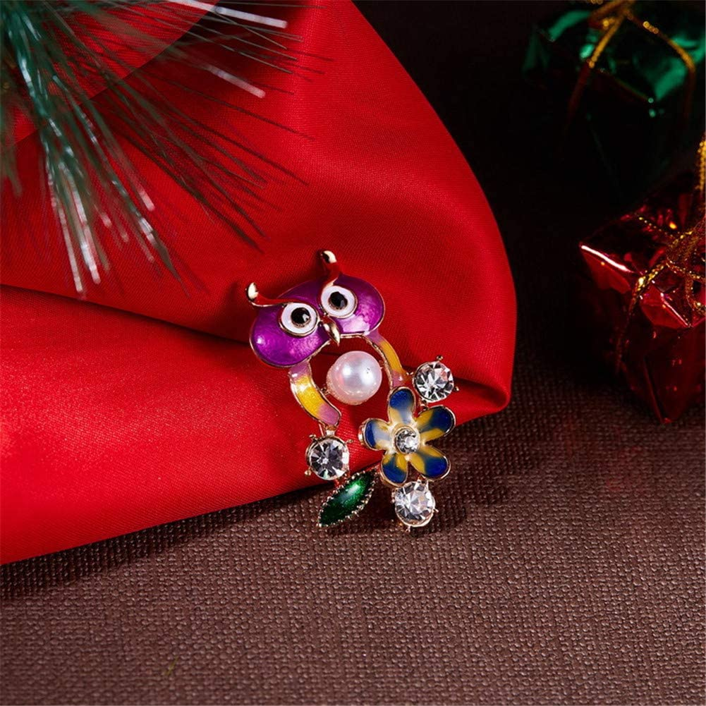 Aruie Broche Pins pour Femme Fille en Alliage Laque avec Perle Strass Fleur P/étale Hibou Chouette Ajour/é Animal D/écoration Tenue Cadeau