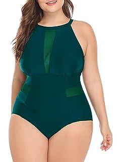 8ff4ad6b4b1c5d Daci Women One Piece Plus Size Swimwear High Neck V-Neckline Mesh Swimsuit  Bathing Suit
