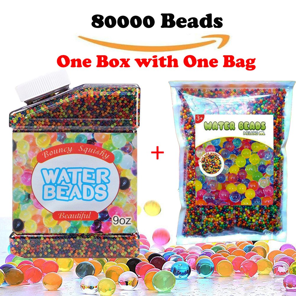 Water Beads, Rainbow Mix Water Growing Gel Balls for Home Decoration, Orbeez Refill, Vase Filler, Kids Tactile Toys, Sensory Toys(80000 Beads, One Box with one bag) Nadiho